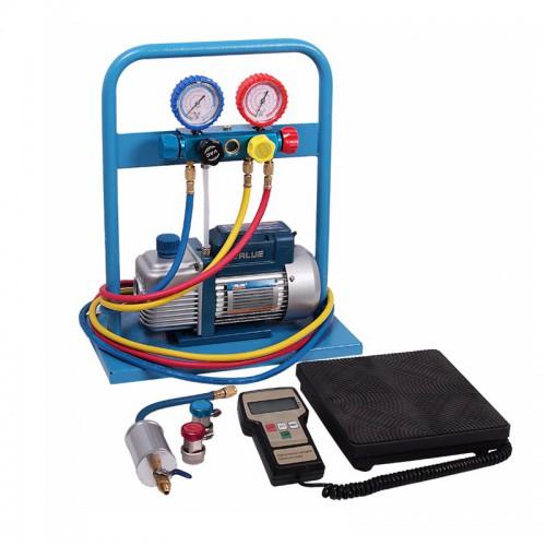 Комплект для заправки кондиционеров, с 4-х вентильным коллектором