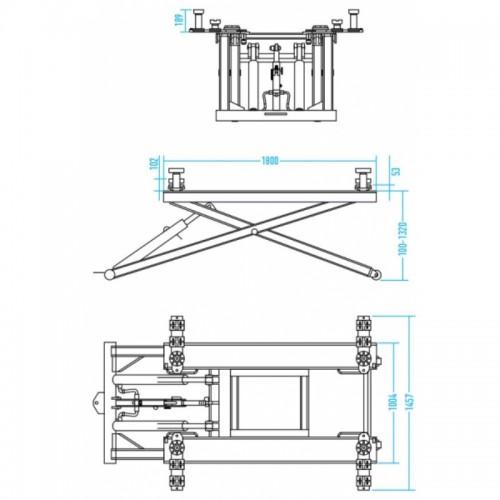 Подъемник ножничный 2,8т KraftWell KRW2.6M мобильный