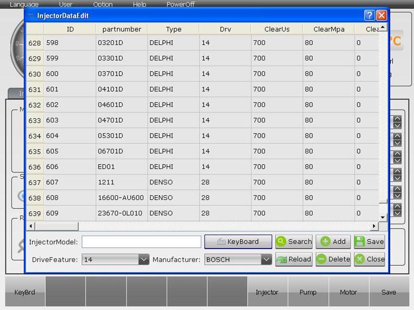 ВВкладка листа отчета теста форсунок стенда EC - 1000