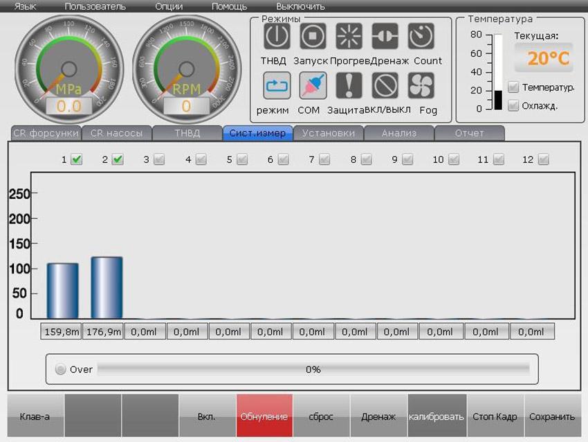 Интерфейс вкладки измерительной системы стенда ЕС-700FL/2