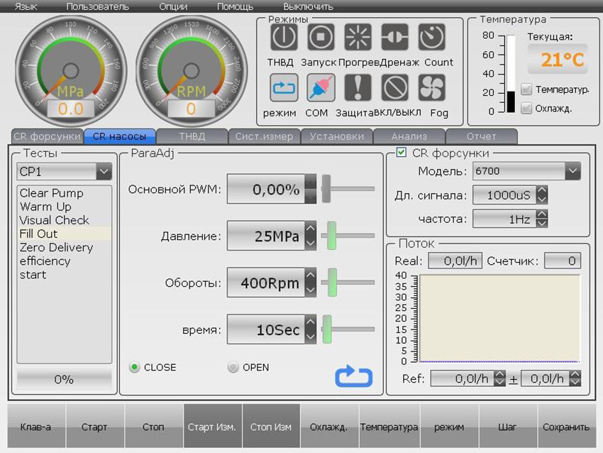 Вкладка теста CR насосов стенда ЕС-700FL/2